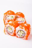 Sushi roll in tobiko Stock Image
