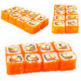 Sushi roll with tuna, avocado and cucumber Royalty Free Stock Photos