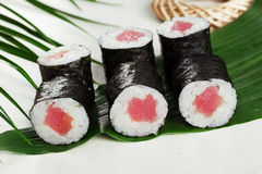 Sushi roll tuna chives mini kappa maki in the Stock Image