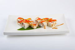 Sushi roll with tuna, Philadelphia cheese, flying fish caviar, bell pepper Stock Images