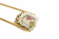 Sushi roll with tuna and sesame isolated on white background Royalty Free Stock Images
