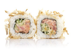 Sushi roll with tuna shavings isolated. On white background Stock Images