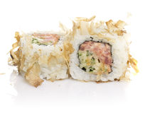 Sushi roll with tuna shavings isolated Stock Photos