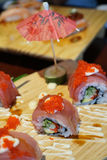 Sushi roll with tuna and tobiko. Stock Images