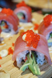 Sushi roll with tuna and tobiko. Stock Image