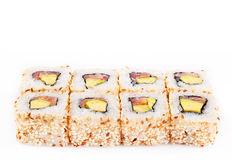 Sushi roll with tune and avocado Royalty Free Stock Images