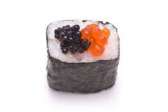 Sushi Roll with Two Types of Caviar Stock Photo