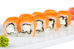 Sushi (Roll unagi maki syake) Royalty Free Stock Photos