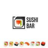 Sushi and roll vector logo template. Japanese oriental kitchen delicacy logotype. Minimal menu design, black border. Royalty Free Stock Photos