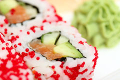 Sushi roll and wasabi Royalty Free Stock Photography