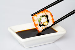 Sushi (Roll) on a white background Royalty Free Stock Image