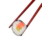 Sushi roll on white. Sushi roll with chopsticks on isolated bacground Stock Photo