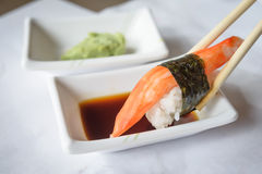 Sushi roll. On white plate, closeup Royalty Free Stock Photography