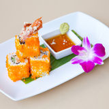Sushi roll on white plate Royalty Free Stock Images
