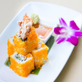 Sushi roll on white plate, closeup Royalty Free Stock Photo