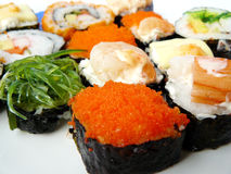 Sushi roll on white plate Stock Photo