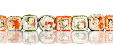 Sushi Roll on a white seamless background Stock Photography
