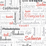 Sushi and roll words, tags. Royalty Free Stock Photos