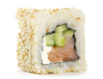 Sushi roll wth sesame isolated Stock Images