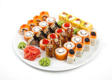Sushi and rolled Royalty Free Stock Photo