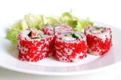 Sushi rolls. On the white background royalty free stock images
