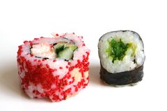 Sushi rolls. On the white background royalty free stock photo