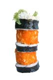Sushi rolls. Isolated on the white background royalty free stock photos