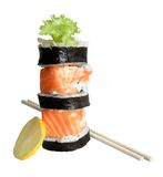 Sushi rolls. Isolated on the white background Royalty Free Stock Photo