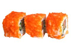 Sushi rolls. Isolated on the white background Stock Photos