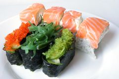 Sushi rolls. On the white plate Royalty Free Stock Photos