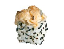 Sushi rolls. Isolated on the white background royalty free stock photography