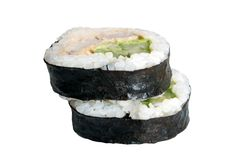 Sushi rolls. Isolated on the white background royalty free stock images