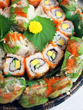 Sushi rolls. Closeup of japanese sushi roll platters Stock Photo
