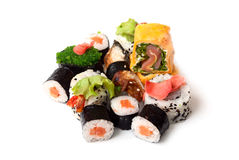 Sushi and rolls. On a white background Stock Photo