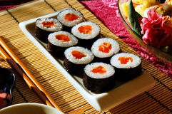 Sushi rolls. Sushi japanese food on a plate Royalty Free Stock Image