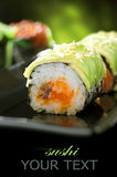 Sushi Rolls. Over Black Background. Selective Focus stock photos