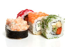 Sushi rolls. On a white background royalty free stock image