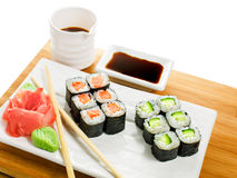 Sushi rolls. With soy sauce and chopsticks Stock Images