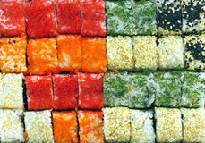 Sushi rolls as background closeup Royalty Free Stock Images