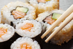 Sushi rolls assortment on plate Stock Photography