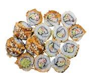 Sushi rolls assortment on white background. Sushi rolls assortment isolated on white background royalty free stock photo