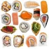 Sushi rolls assortment on white background. Sushi rolls assortment isolated on white background royalty free stock image