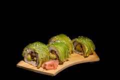 Sushi rolls with avocado Royalty Free Stock Image