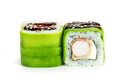 sushi rolls with avocado and shrimp  isolated on white background Stock Photos