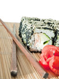 Sushi rolls with black roe and sesame Royalty Free Stock Image