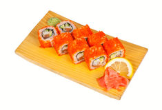 Sushi rolls California isolated on white Royalty Free Stock Image