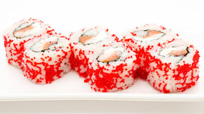 Sushi rolls california with red caviar Stock Photos