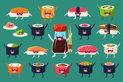 Sushi and rolls characters sett, Japaneset food with funny faces vector Illustrations. Sushi and rolls characters sett, Japaneset food with funny faces colorful Royalty Free Stock Photo