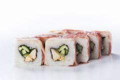 Sushi rolls with chicken and  bacon Stock Photography