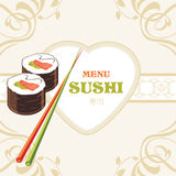 Sushi rolls and chopsticks. Label for menu design Stock Images